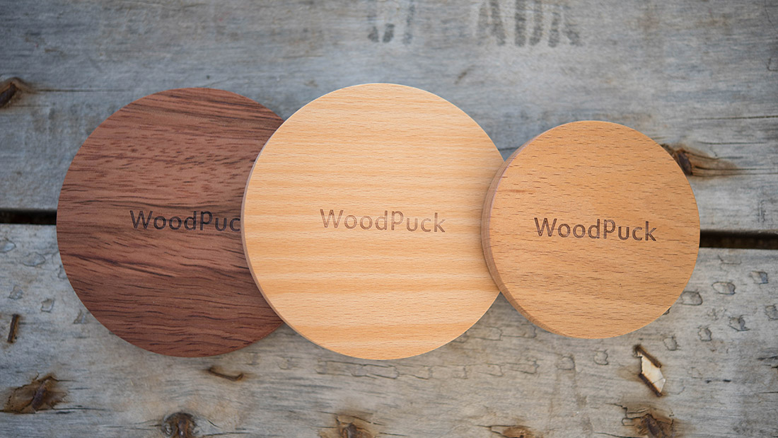 WoodPuck wireless chargers for mobile devices